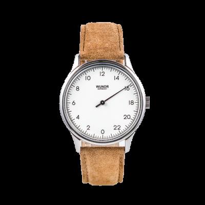 24 Std. WUNDRWATCH WHITE Caramel - Zeit neu definieren ganz natuerlich. Die Uhr aus dem Hause WUNDR ist etwas ganz besonderes. Die WUNDRWATCH hat nur einen Zeiger und zeigt die 24 Std. des Tages auf dem Zifferblatt.
