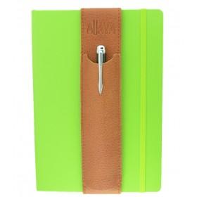 ALjAVA Louis Italienisches Rindsleder: Hellbraun, Naht: Braun - Mit dem ALjAVA Louis sind die Stifte an deinem A5-Notizbuch immer griffbereit
