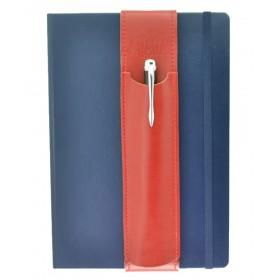 ALjAVA Louis Rindspaltleder: Rot, Naht: Rot - Mit dem ALjAVA Louis sind die Stifte an deinem A5-Notizbuch immer griffbereit