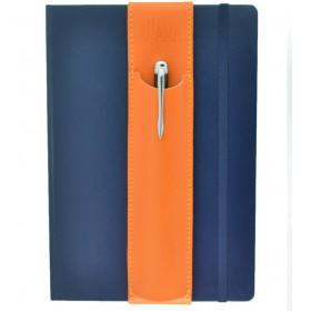 ALjAVA Louis Rindspaltleder: Orange, Naht: Orange - Mit dem ALjAVA Louis sind die Stifte an deinem A5-Notizbuch immer griffbereit