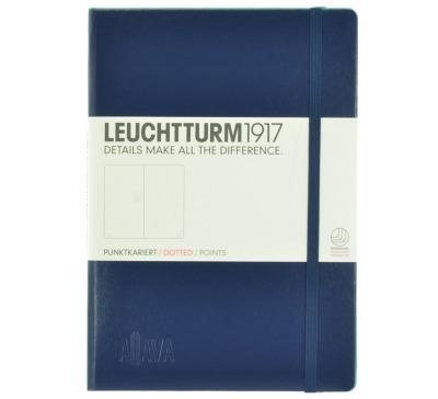 Aljava _ LEUCHTTURM1917-Notizbuch Farbe Marine - ALJAVA Logo als Tiefenpraegung 3 cm breit - Notizbuch Medium A5 249 nummerierte Seiten 80g/qm Papier gepunktet