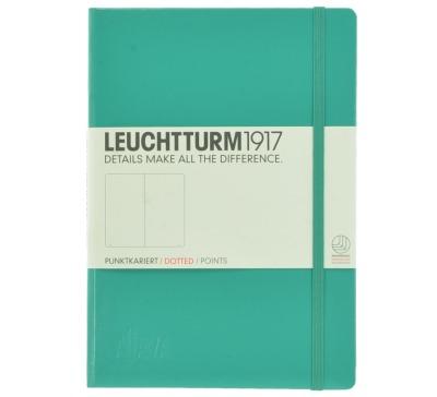Aljava_LEUCHTTURM1917-Notizbuch A5 Farbe Smaragd - Notizbuch Medium A5 249 nummerierte Seiten 80g/qm Papier gepunktet - ALJAVA Logo als Tiefenpraegung 3 cm breit