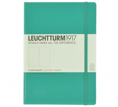 Aljava_LEUCHTTURM1917-Notizbuch A5, Farbe: Smaragd - Notizbuch Medium A5 , 249 nummerierte Seiten, 80g/qm Papier, gepunktet - ALJAVA Logo als Tiefenprägung 3 cm breit