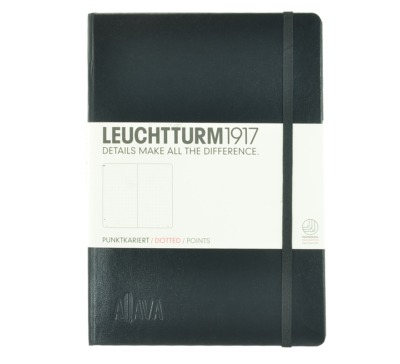 Aljava _ LEUCHTTURM1917-Notizbuch Farbe Schwarz - ALJAVA Logo als Tiefenpraegung 3 cm breit - Notizbuch Medium A5 249 nummerierte Seiten 80g/qm Papier gepunktet