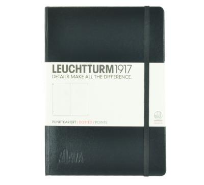 Aljava _ LEUCHTTURM1917-Notizbuch Farbe: Schwarz - ALJAVA Logo als Tiefenprägung 3 cm breit - Notizbuch Medium A5 , 249 nummerierte Seiten, 80g/qm Papier, gepunktet
