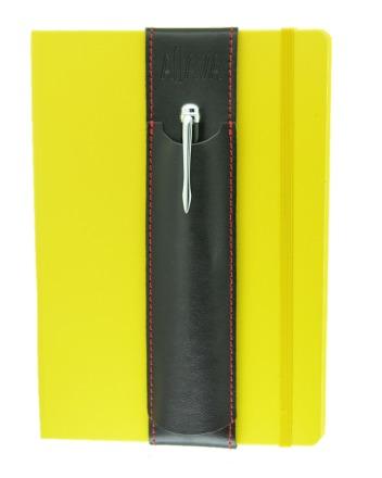 ALjAVA Louis Rindspaltleder Schwarz Naht Rot - Mit dem ALjAVA Louis sind die Stifte an deinem A5-Notizbuch immer griffbereit