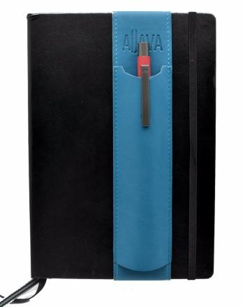 ALjAVA Louis Kunstleder Tuerkis Naht Tuerkis - Sonderproduktion - Mit dem ALjAVA Louis sind die Stifte an deinem A5-Notizbuch immer griffbereit