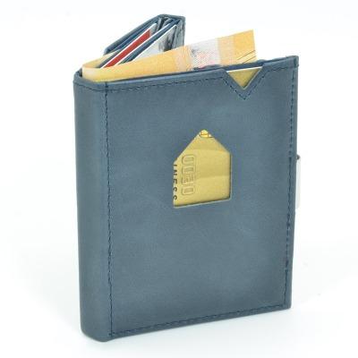Exentri Wallet BLUE mit RFID-Schutz - Diese smarte Mini-Geldbörse erlaubt Ihnen Geldscheine und Karten mühelos und sehr übersichtlich zu verwalten. Kein gefalte mehr von Geldscheinen und ganz Neu mit RFID Schutz.