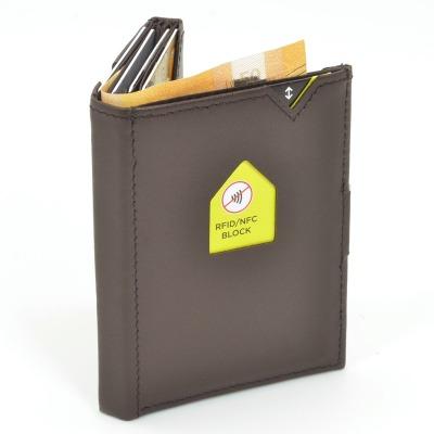 Exentri Wallet BROWN mit RFID-Schutz - Diese smarte Mini-Geldbörse erlaubt Ihnen Geldscheine und Karten mühelos und sehr übersichtlich zu verwalten.