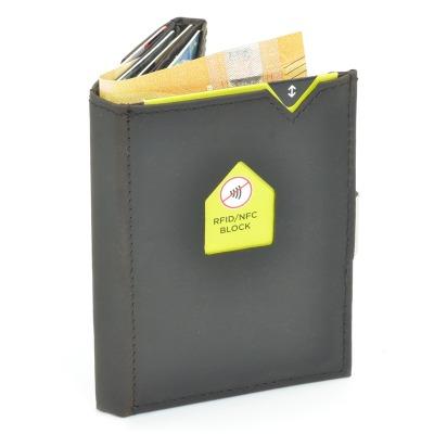 Exentri Wallet NUBUCK BROWN mit RFID-Schutz - Diese smarte Mini-Geldboerse erlaubt Ihnen Geldscheine und Karten muehelos und sehr uebersichtlich zu verwalten. Kein gefalte mehr von Geldscheinen und ganz Neu mit RFID Schutz.