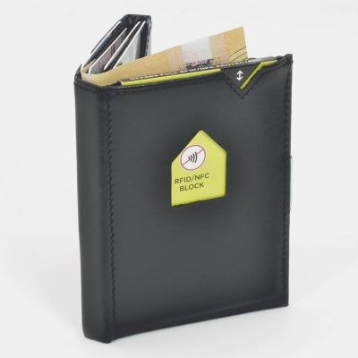 Exentri Wallet BLACK mit RFID-Schutz - Diese smarte Mini-Geldbörse erlaubt Ihnen Geldscheine und Karten mühelos und sehr übersichtlich zu verwalten.