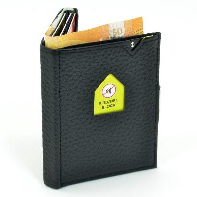 Exentri Wallet BLACK STRUCTURE mit RFID-Schutz - Dieses smarte Mini-Wallet hat einen RFID Schutz und es erlaubt Ihnen Geldscheine und Karten muehelos und sehr uebersichtlich zu verwalten.