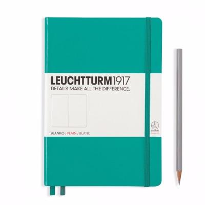 LEUCHTTURM1917-Notizbuch Farbe: Smaragd - Notizbuch Medium A5 , 249 nummerierte Seiten, 80g/qm Papier, gepunktet