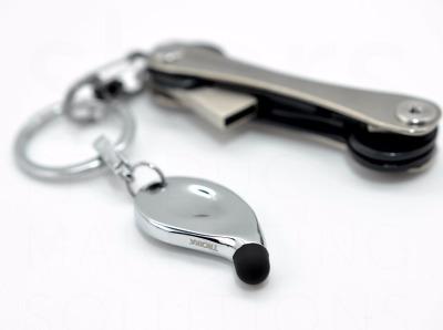 Schlüsselanhänger Stylus - Stylus Schlüsselanhänger, Kombination aus Schlüsselring und Eingabestift für iPad, iPhone und andere Tablet PCs mit Touchscreen, Metallguss, glänzend verchromt, mit praktischem Klick-Verschluss