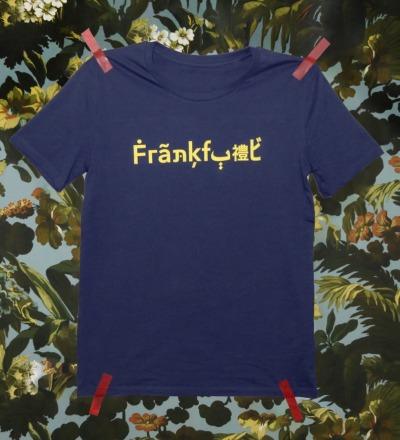 X-MAS-EDITION The Original Frankfurt Shirt / blau - gelb - Blaues T-Shirt mit gelbem Frankfurt Schriftzug