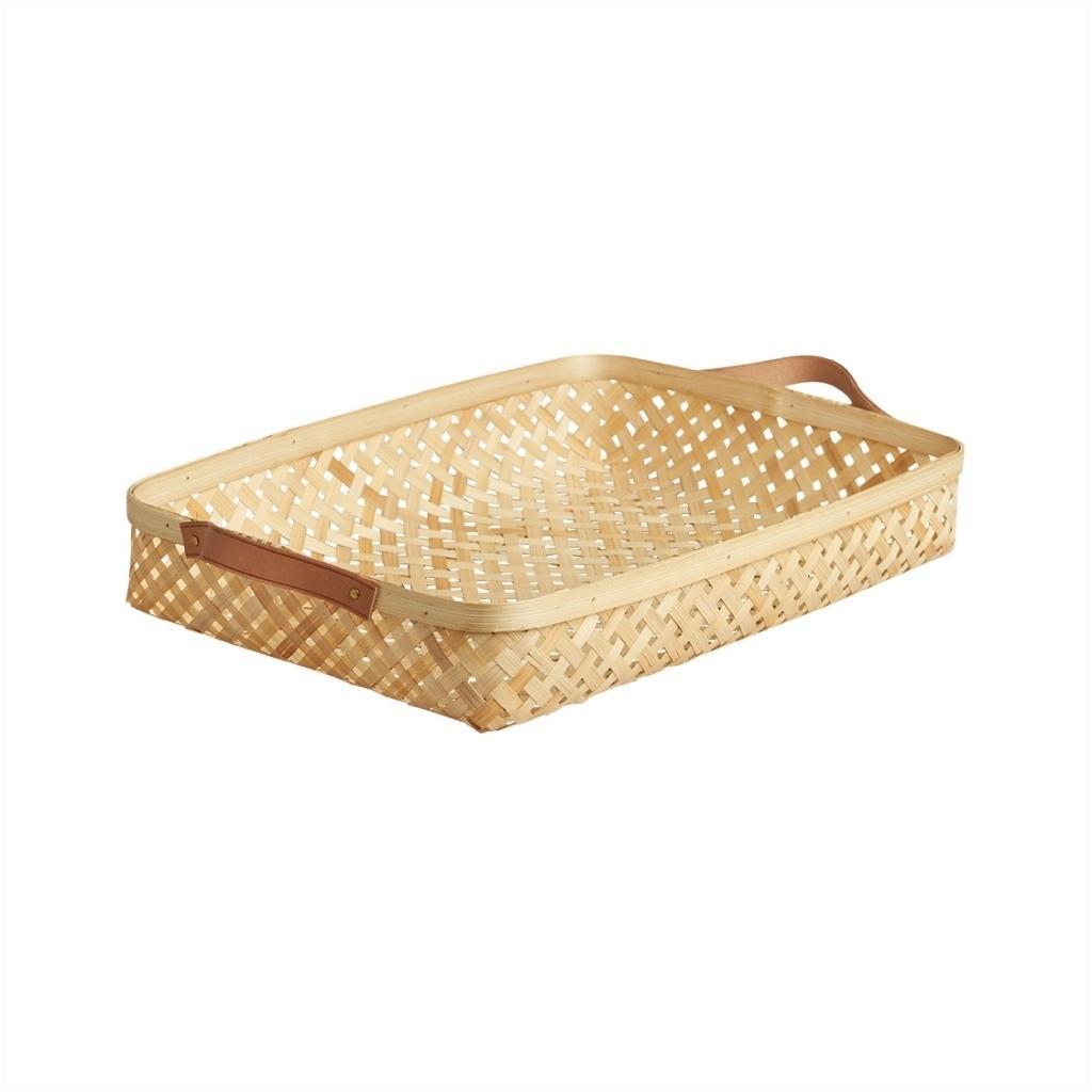 Bambuskorb mit Lederhenkeln sporta groß