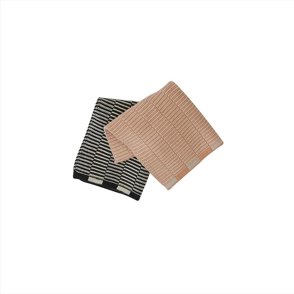 Wischtücher Mini-Handtücher stringa 2er Set koralle/anthrazit