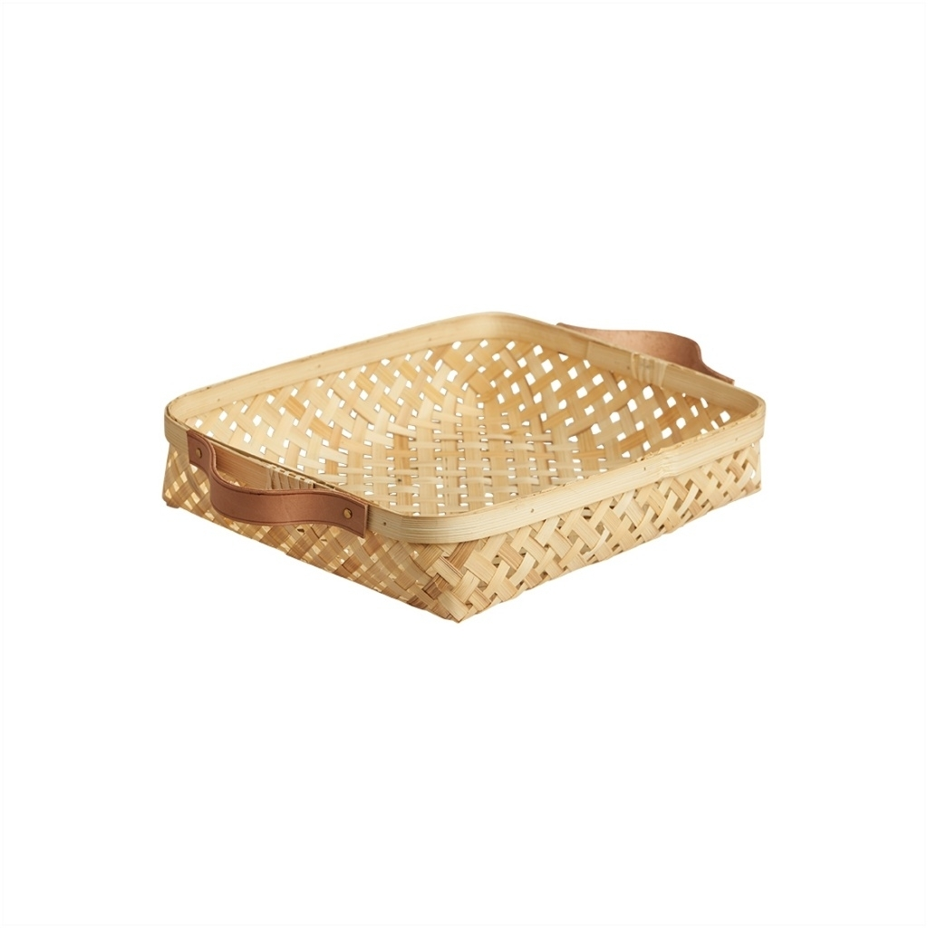 Bambuskorb mit Lederhenkeln sporta klein