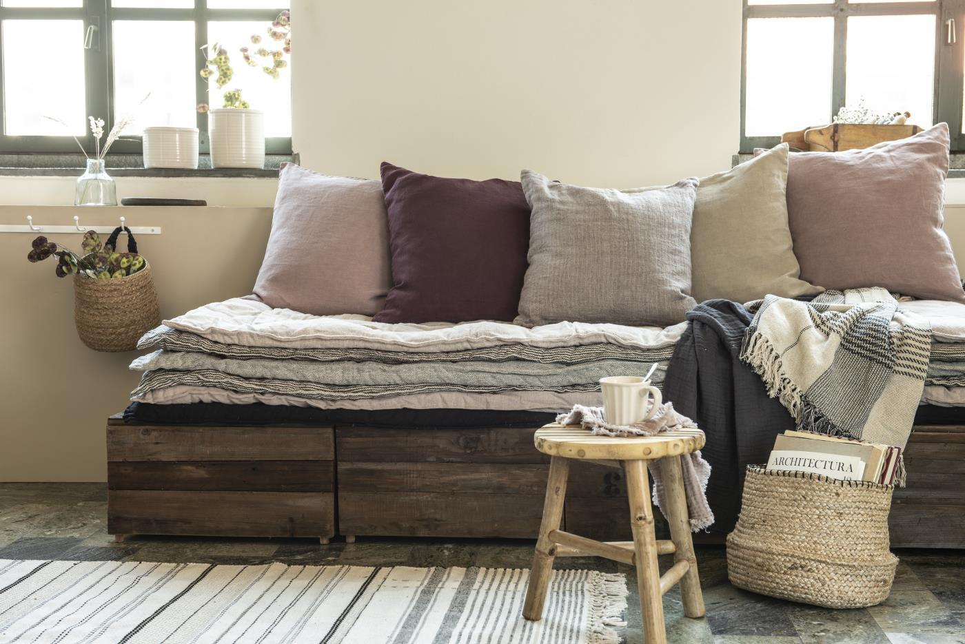 Kissenbezug aus Leinen 50x50/ lavendel&braun 5