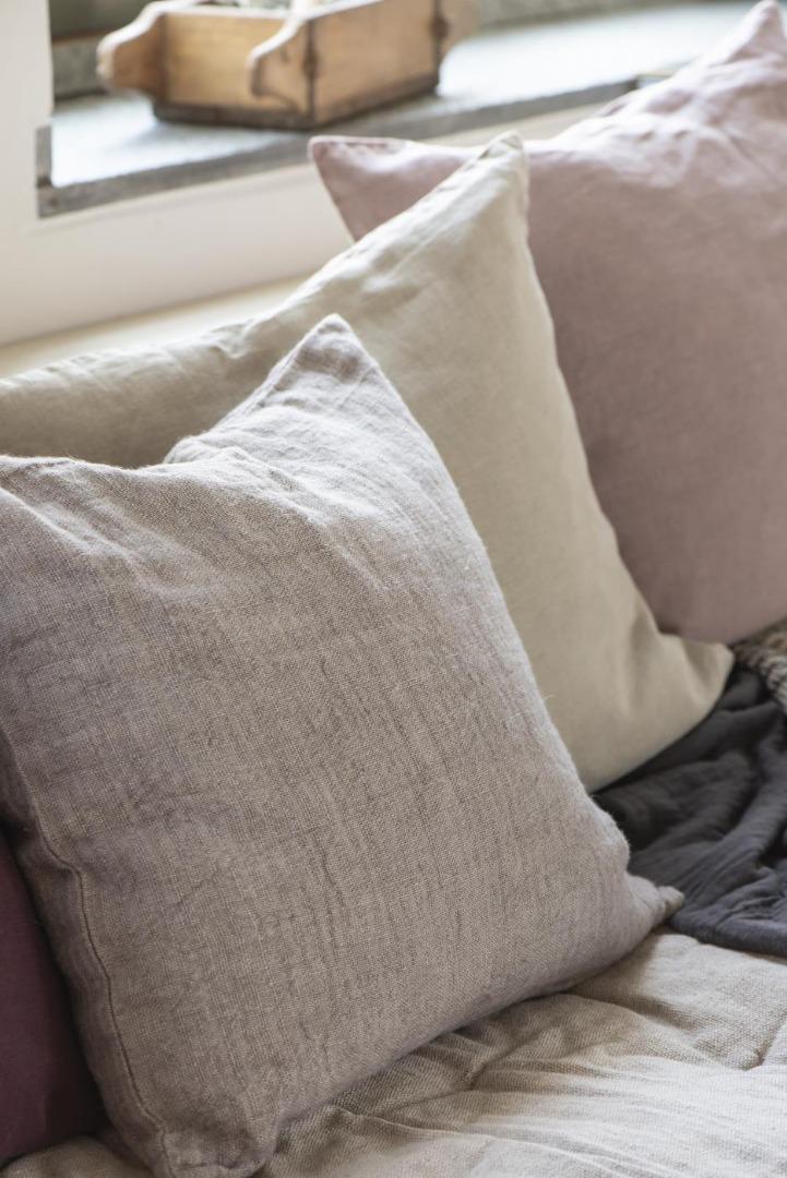 Kissenbezug aus Leinen 50x50/ lavendel&braun 8