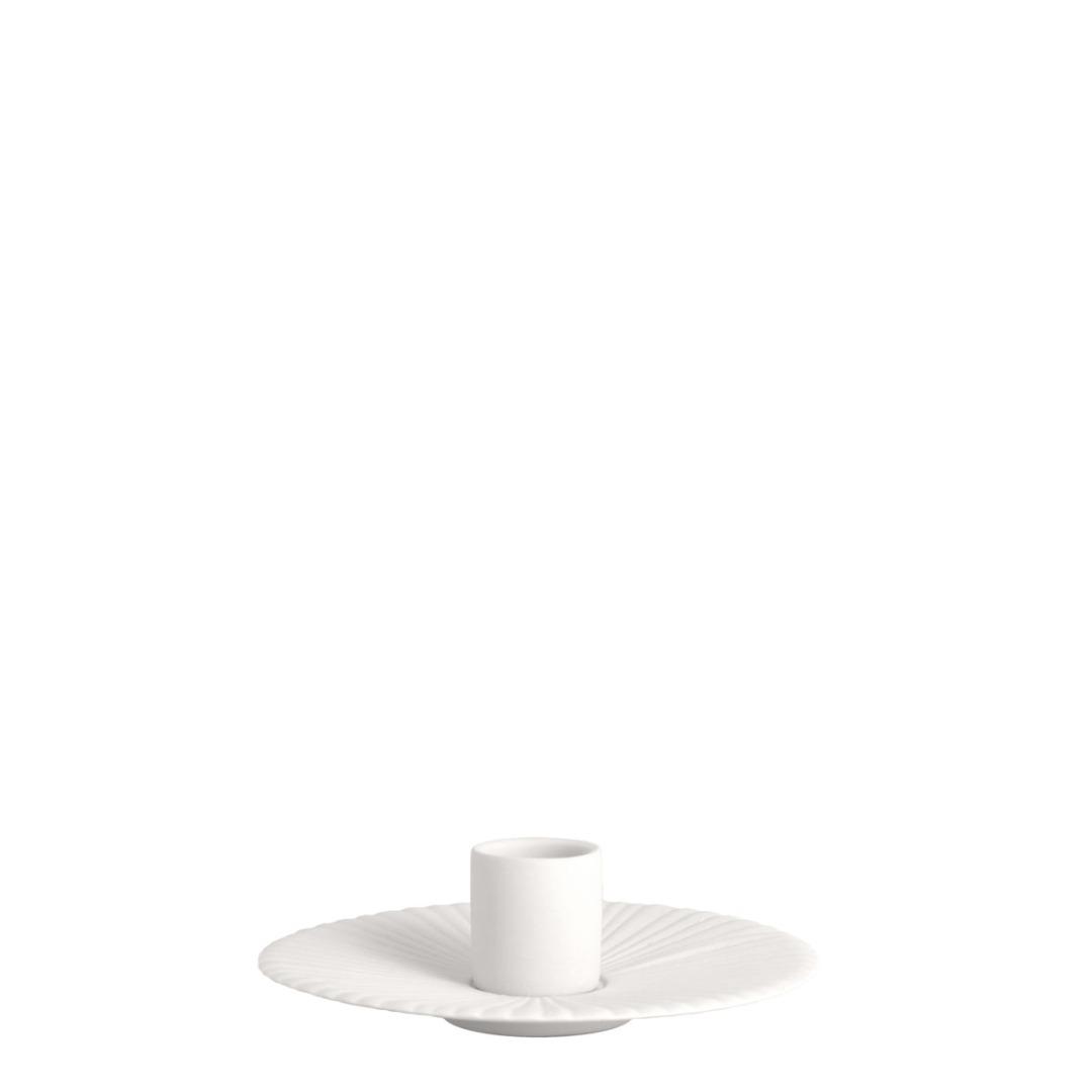kleiner Kerzenhalter Holmby matt/weiß aus Keramik