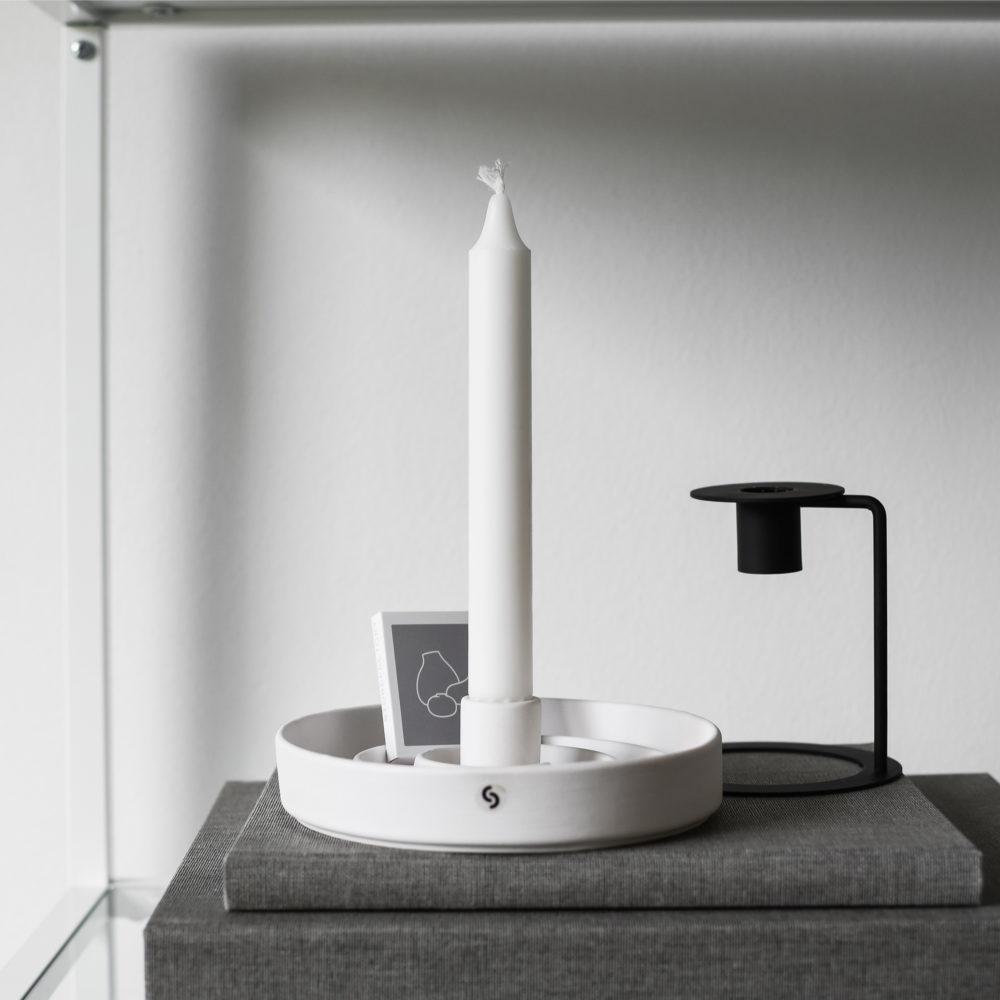 weißer Kerzenhalter Sundhult matt/ aus Keramik