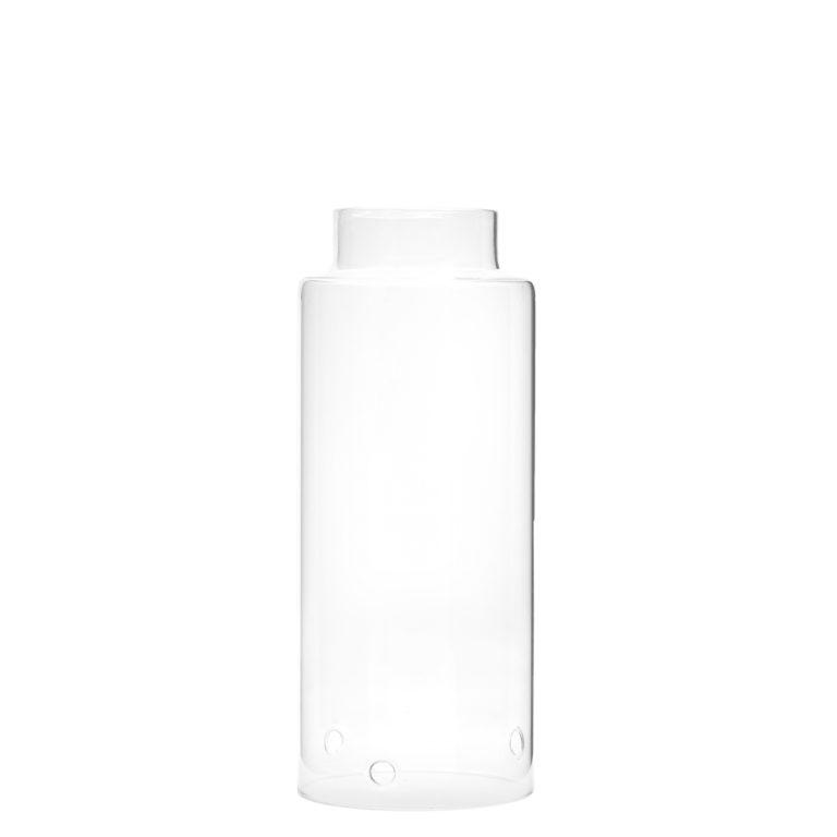 Storm Windlicht Klarglas mit weißer Kerzenplatte