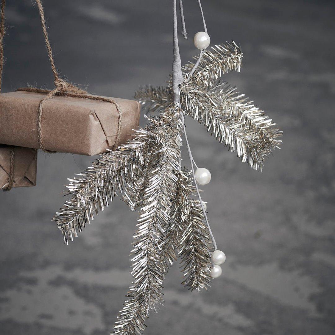 Zweig JOY mit Perlen champagnerfarben 38cm