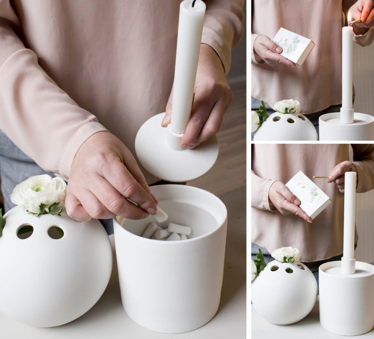 Aufbewahrungsdose mit Kerzenhalter weiß 3