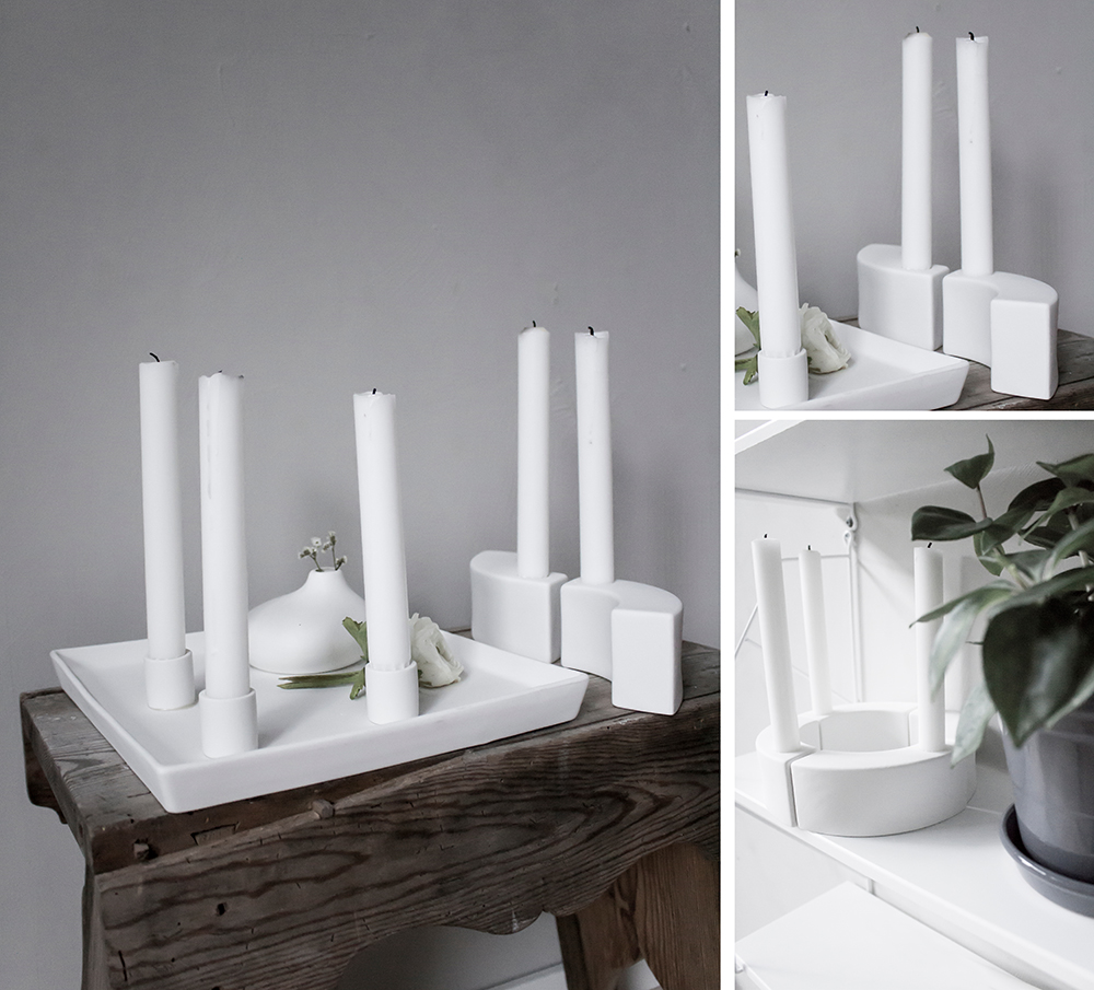 Kerzenständer Beugung 2er Set weiß