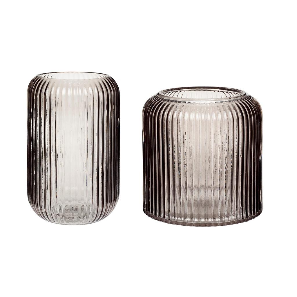 Vase Glas rauchfarben 2er Set