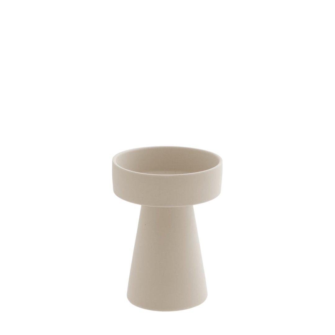 kleiner Kerzenhalter matt/beige aus Keramik 2