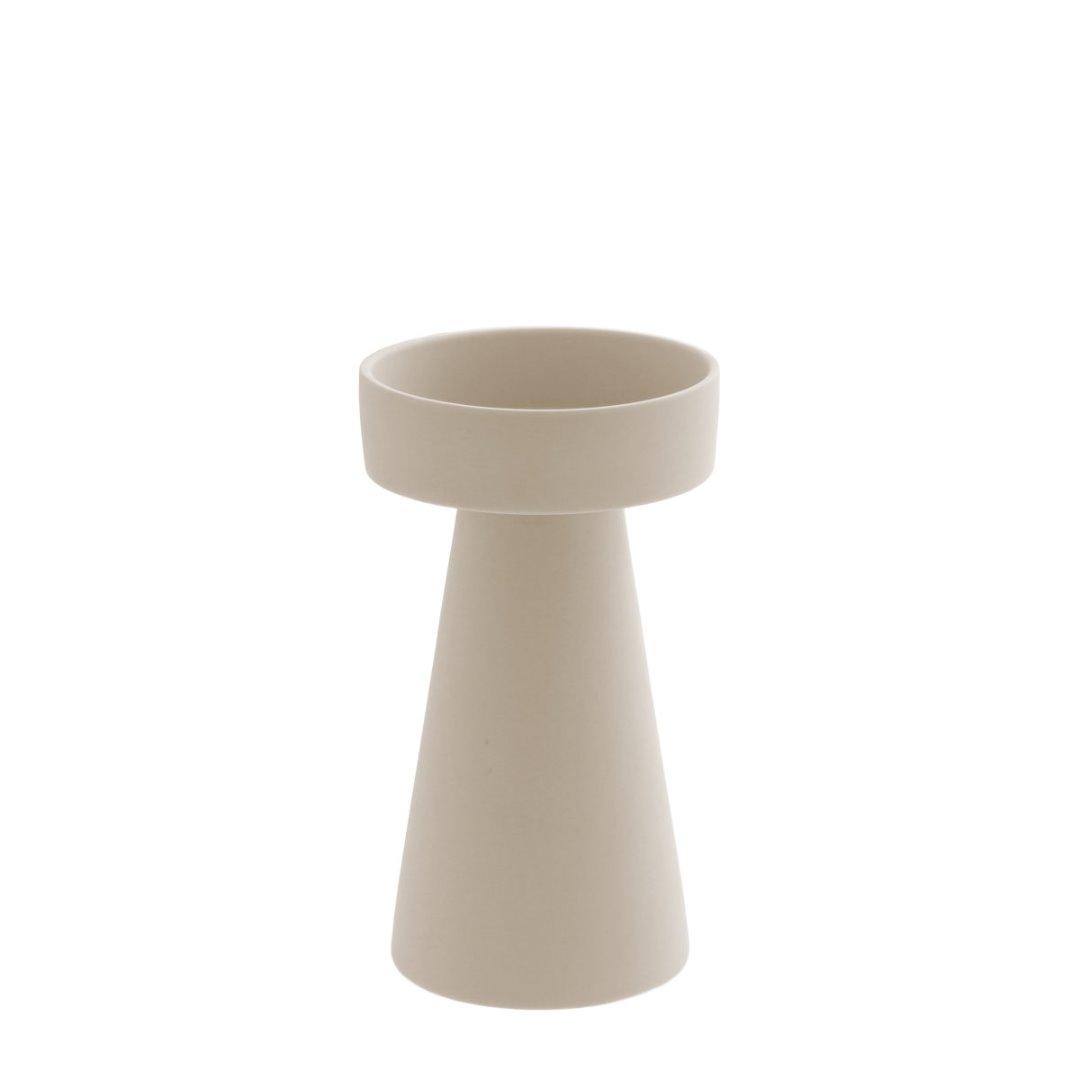 großer Kerzenhalter matt/beige aus Keramik 2