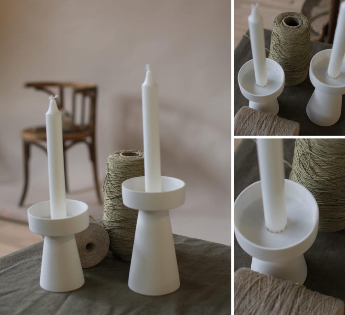 kleiner Kerzenhalter matt/weiß aus Keramik