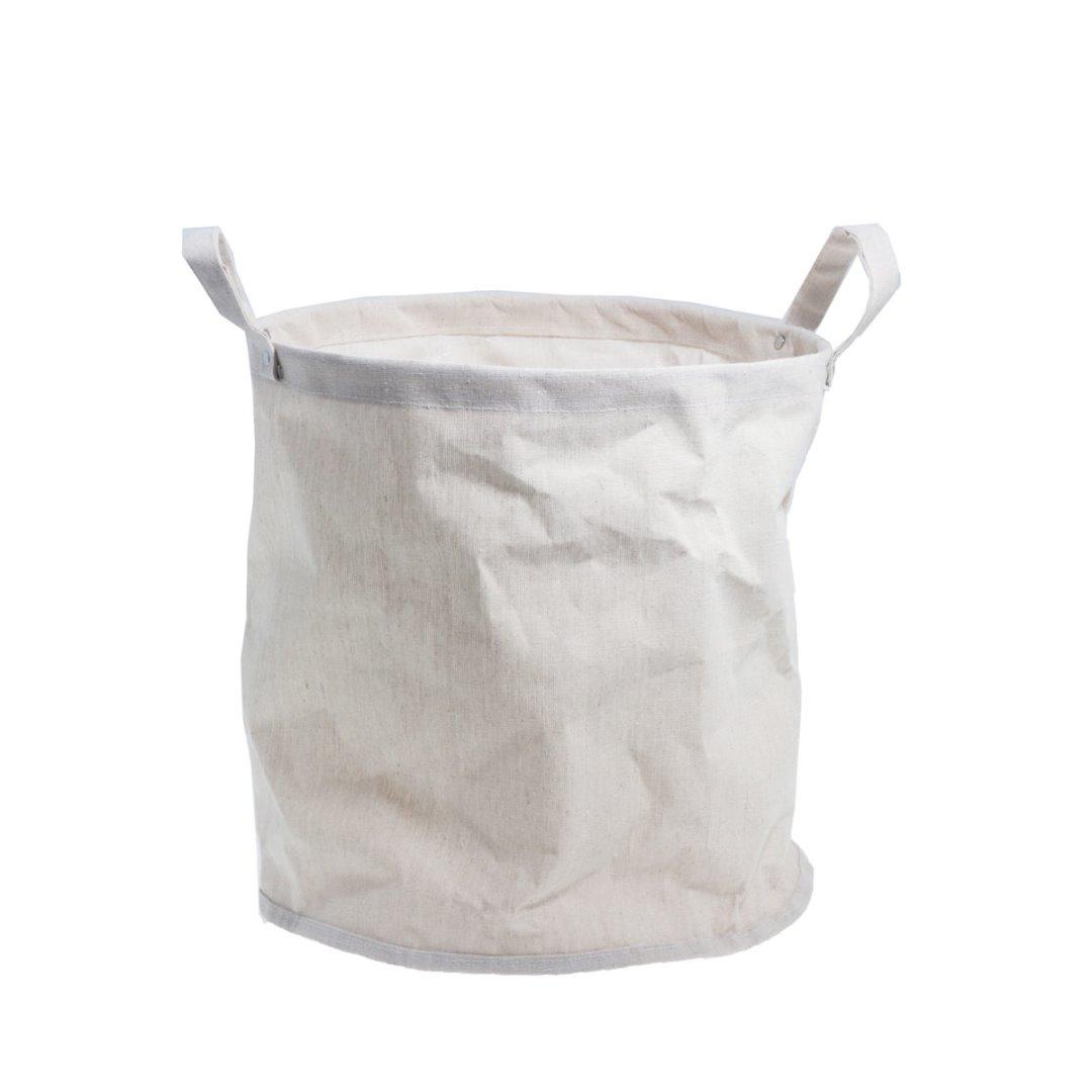 großer Papierkorb HAGEN mit Henkeln beige
