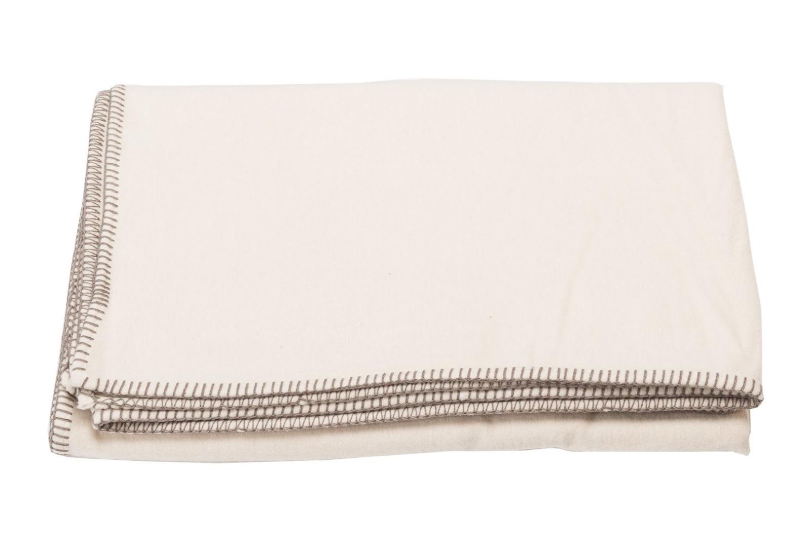 Baumwolldecke SYLT / rohweiß mit Zierstich
