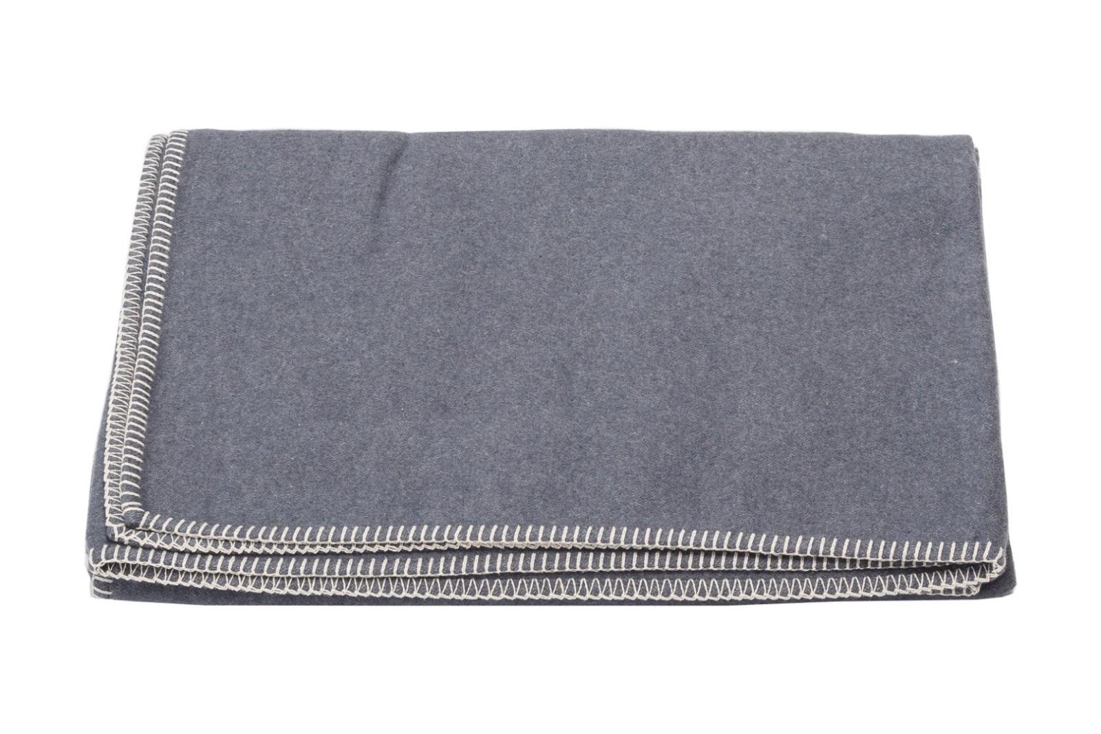 Baumwolldecke SYLT / dunkelgrau mit Zierstich