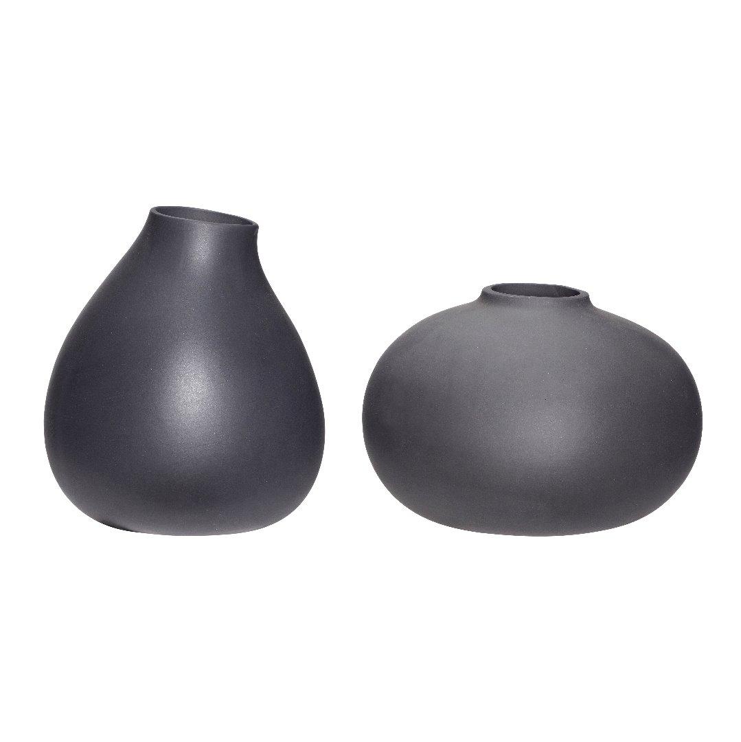 Vase keramik dunkelgrau 2er Set 2