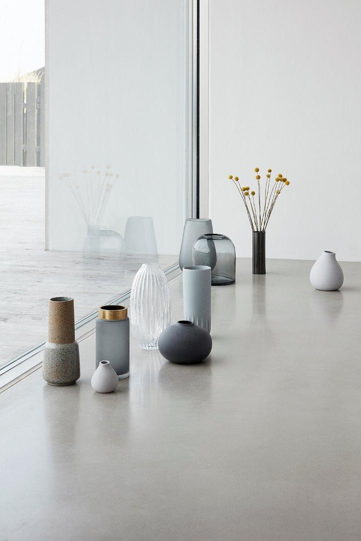 Vase keramik dunkelgrau 2er Set