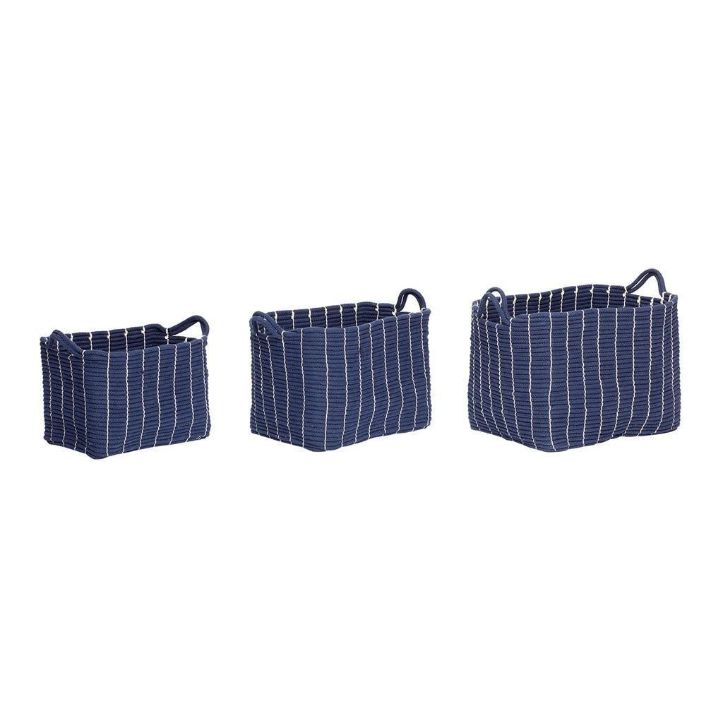 Korb mit Henkeln, Baumwolle, blau, 3er Set - 1