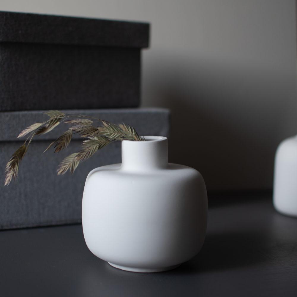 bauchige Vase weiß 2