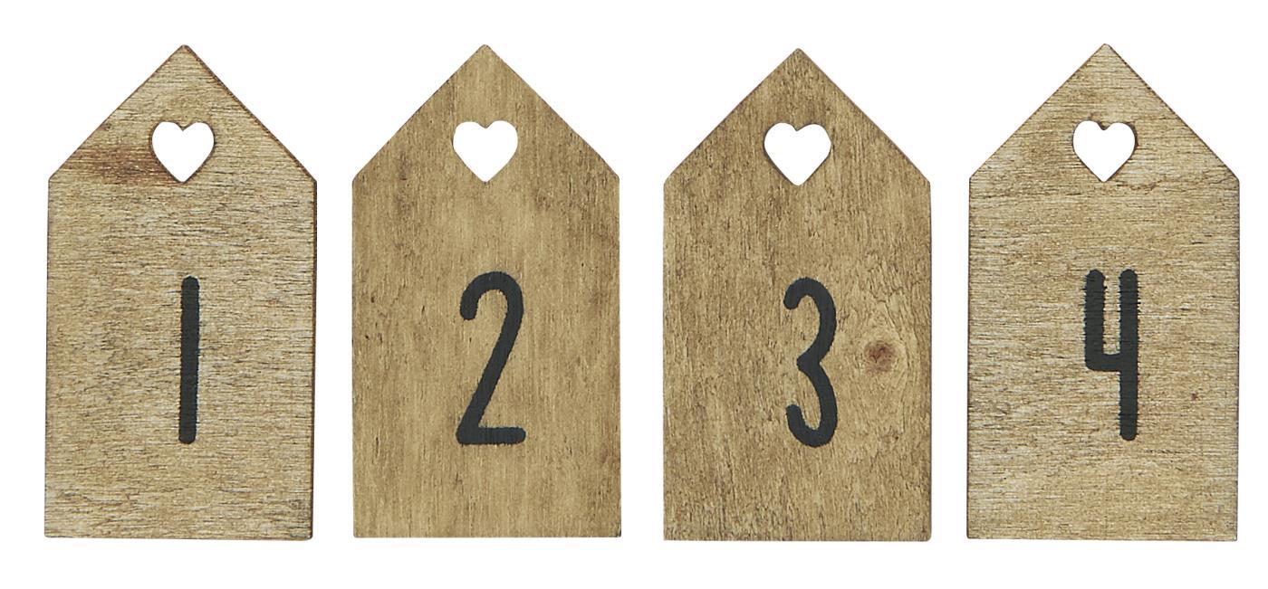 kleines Zahlenset 1-4 aus Holz natur