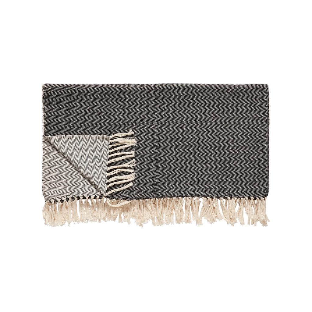 Hübsch Decke, Baumwolle, schwarz/cremeweiß - 1