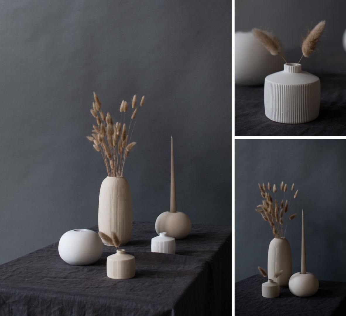 Berga Keramikvase beige klein 2