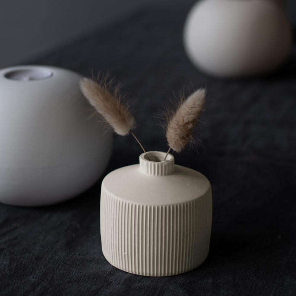 Berga Keramikvase beige klein 3