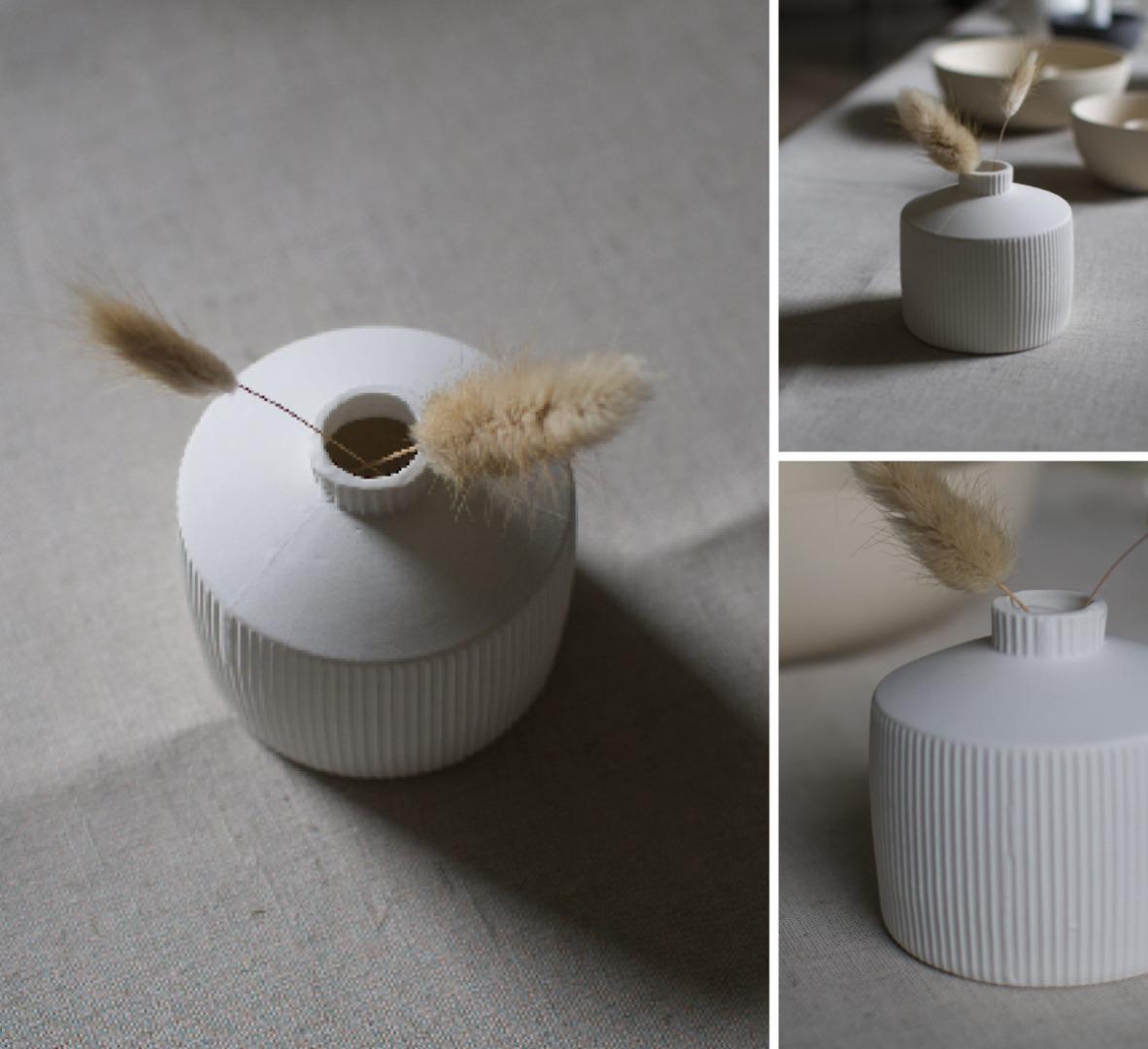 Berga Keramikvase weiß klein 3