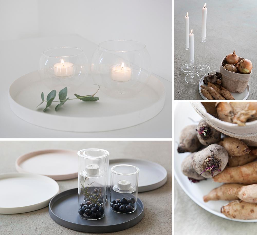 rundes Keramiktablett weiß Grimshuld / matt