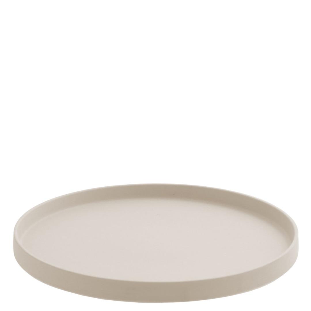 rundes Keramiktablett beige Grimshult / matt