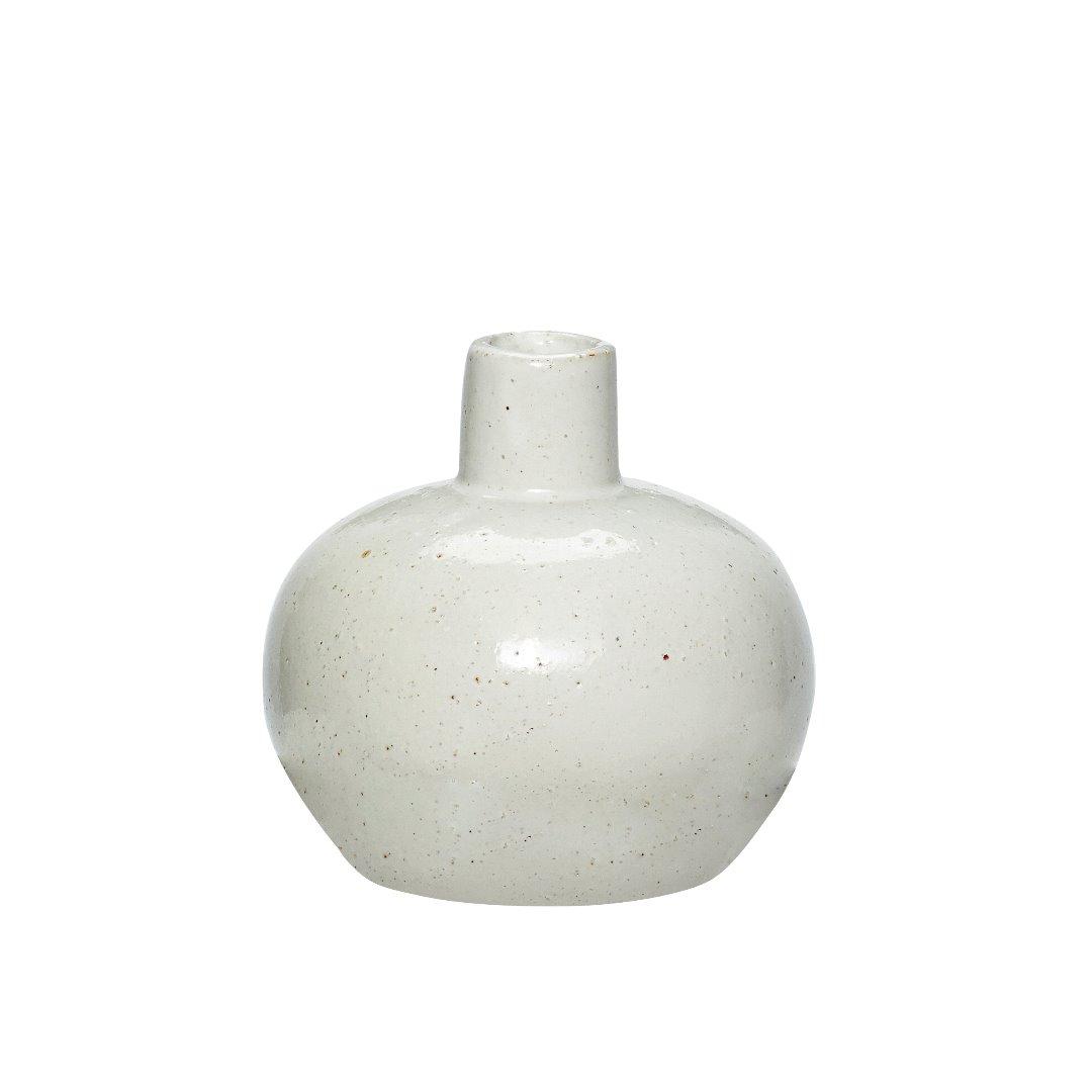 bauchige Vase aus Porzellan / weiß