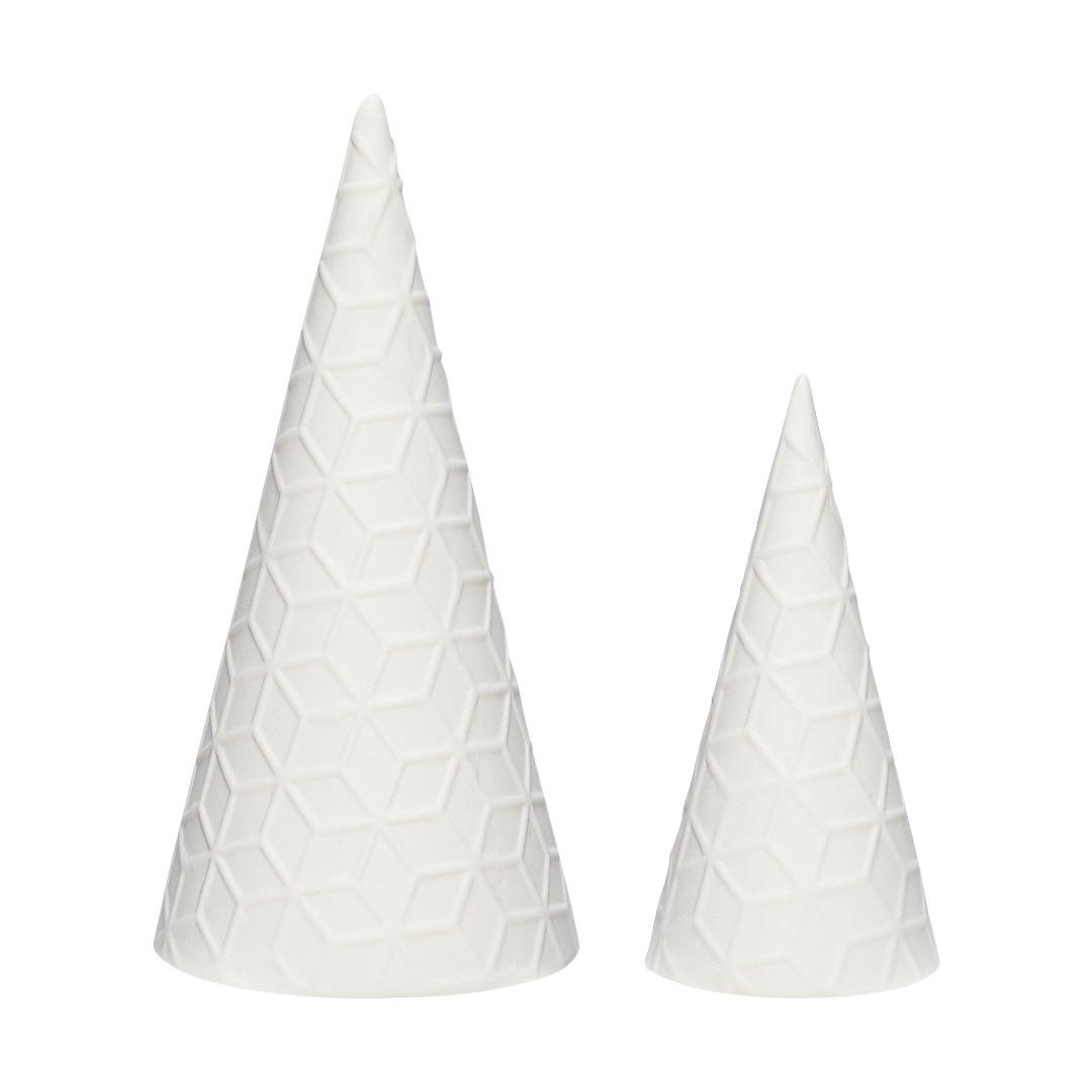 Hübsch Weihnachtsbaum, Porzellan, weiß, 2er Set - 1